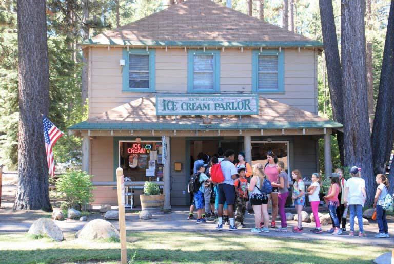 Camp Richardson's Lake Tahoe Ice Cream Parlor in summer