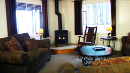 studebaker lake tahoe cabin living room and fireplace