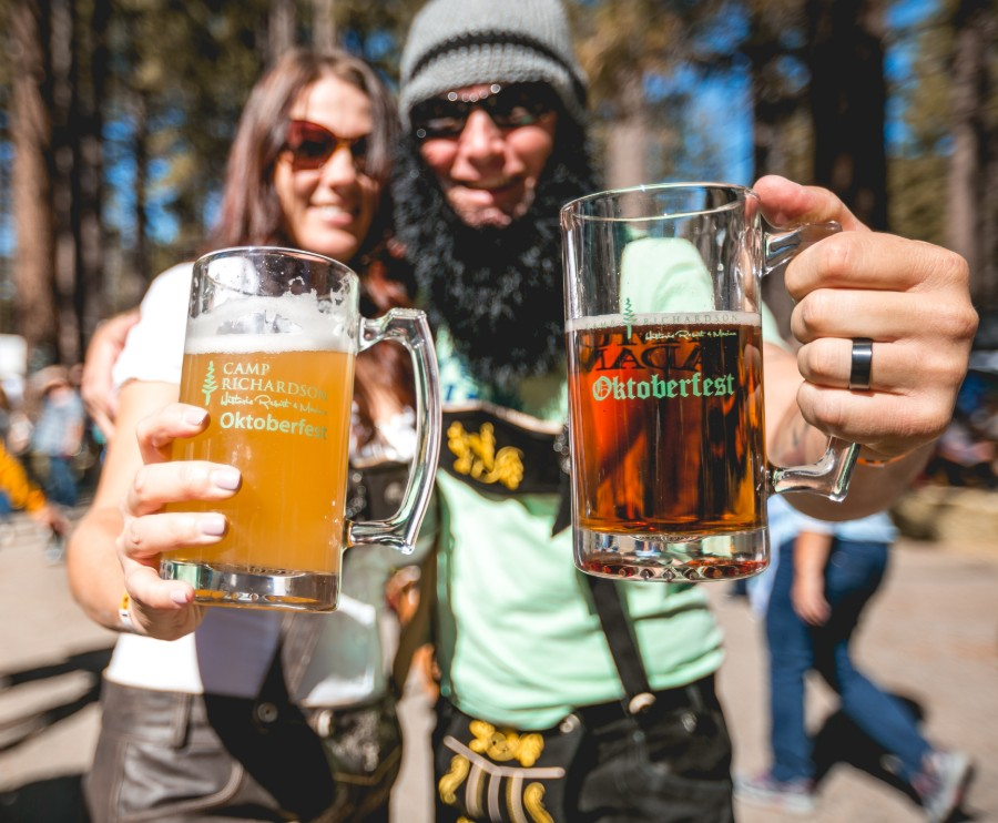 enjoying beer at camp richardson's lake tahoe oktoberfest