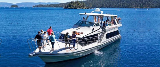 The Rum Runner Cruise taking guests out on Lake Tahoe.