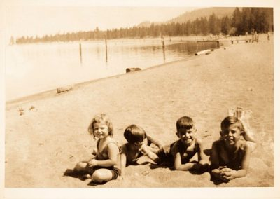 historic photo of children at camp richardson resort