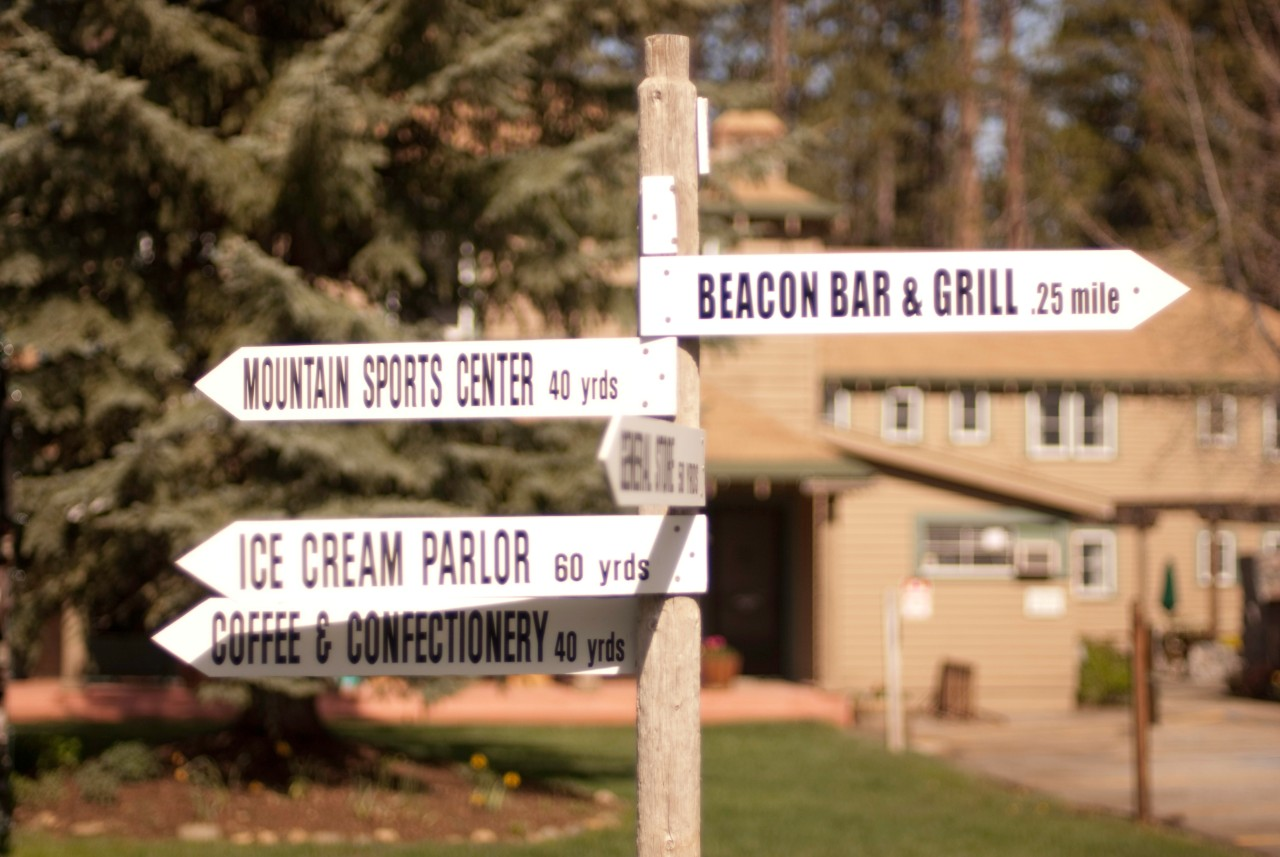 Directional signs at Camp Richardson Resort