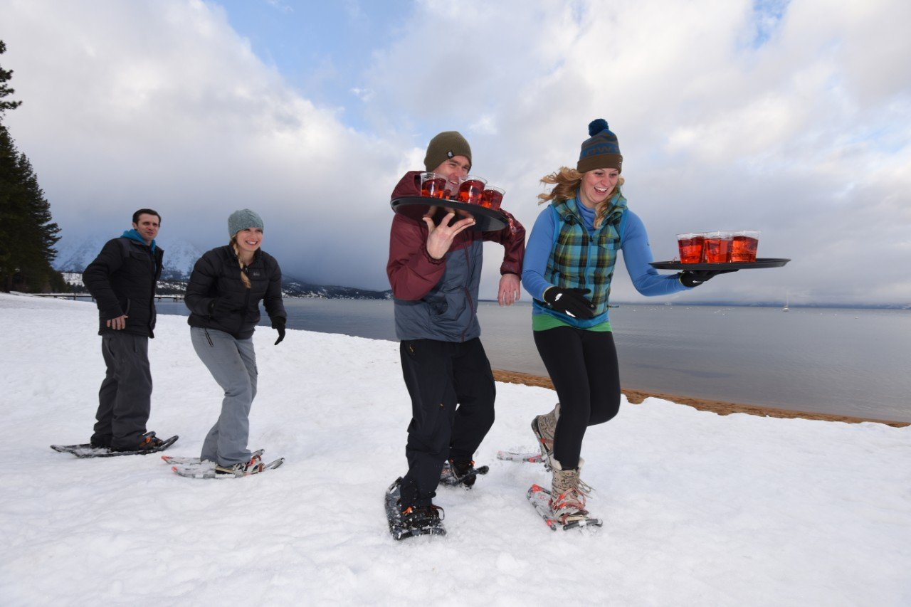 Guests participating in the South Lake Tahoe snowshoe races at Camp Richardson