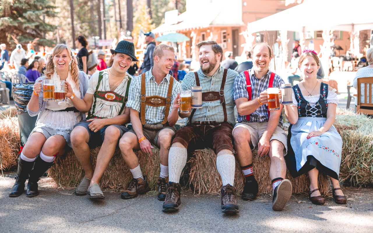 group of friends at oktoberfest