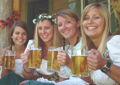 women dressed up for oktoberfest