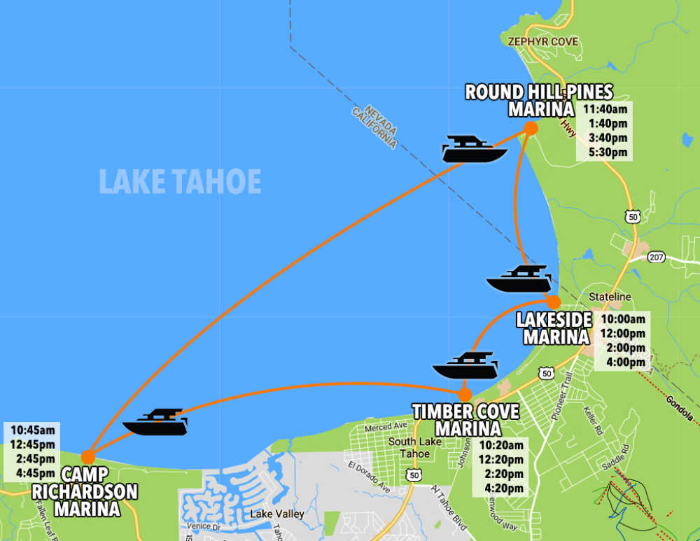 water taxi map to avoid lake tahoe traffic
