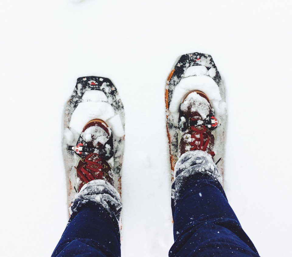 looking down at snowshoes on your feet