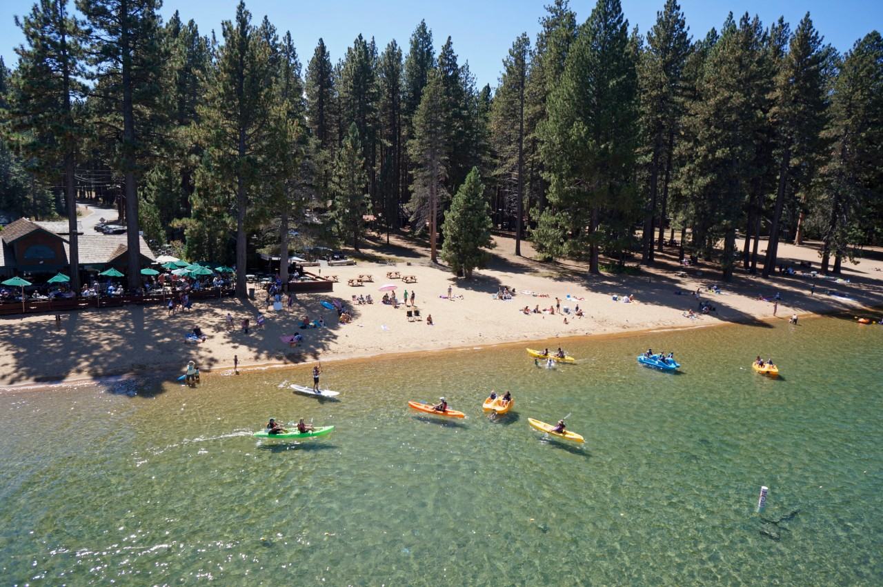 aerial view of kayaks on lake tahoe