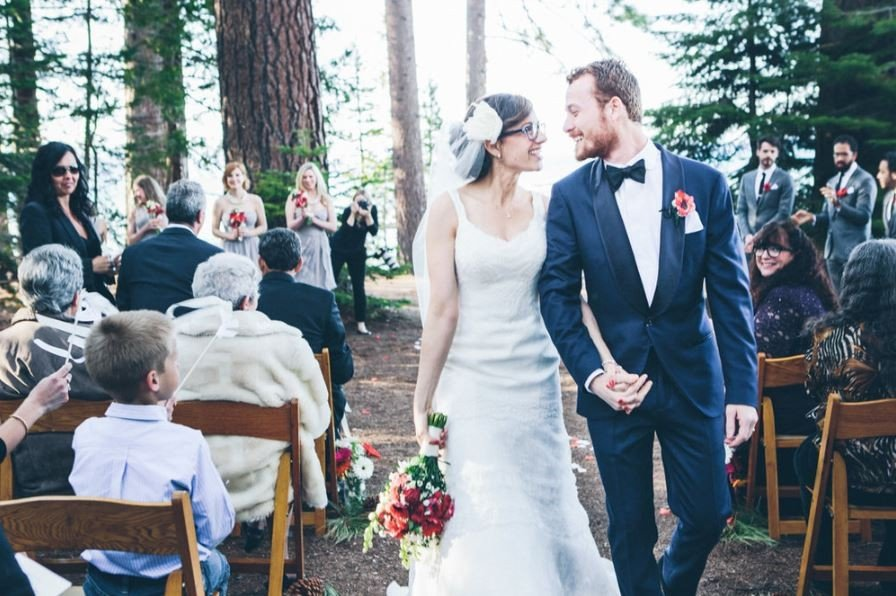 A beautiful outdoor wedding ceremony in South Lake Tahoe at Camp Richardson.