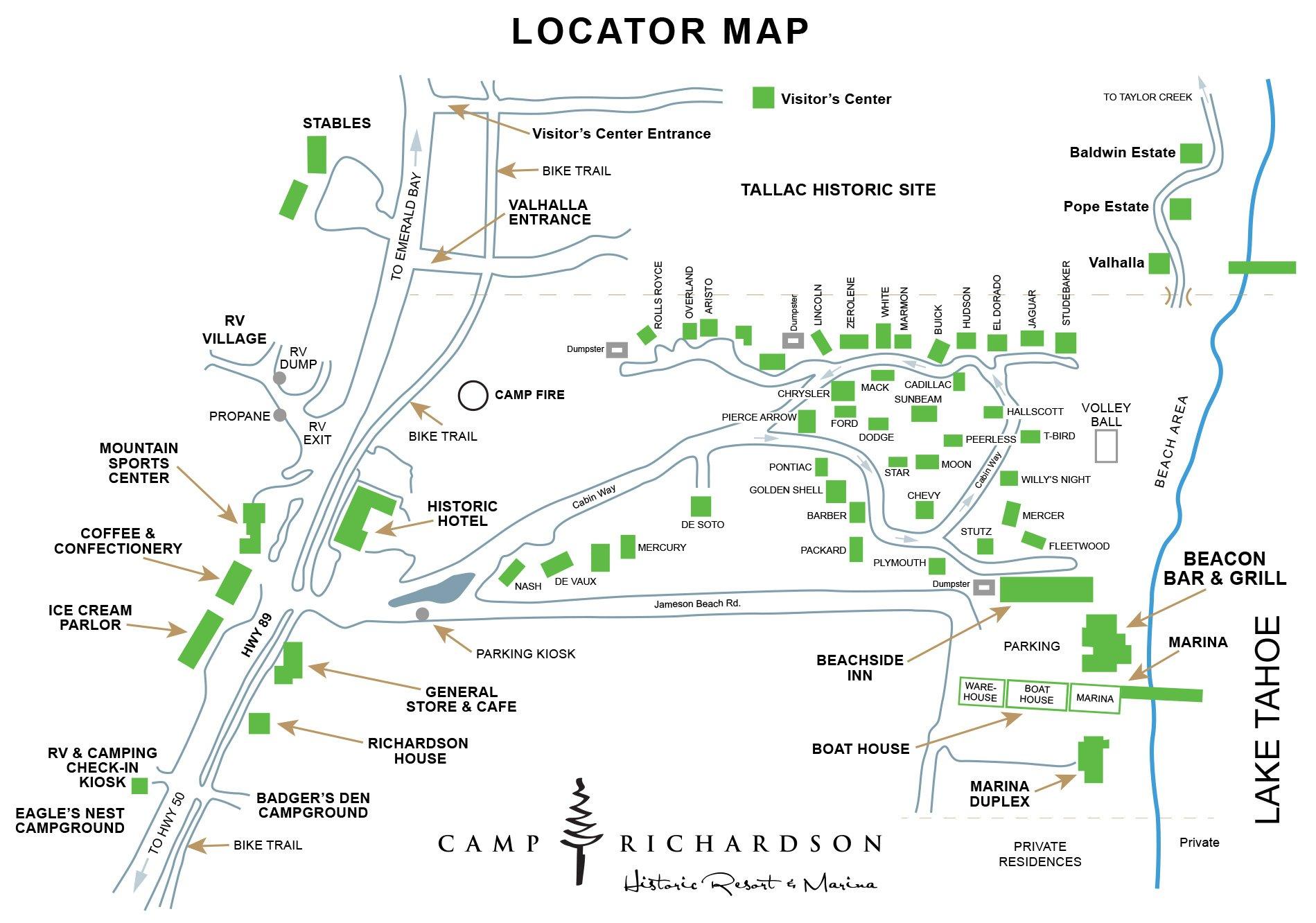 Camp Richardson Locator Map