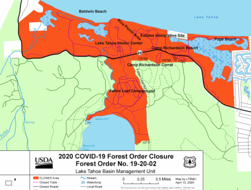 Forest Service issues temporary closure order for South Shore Tahoe recreation corridor